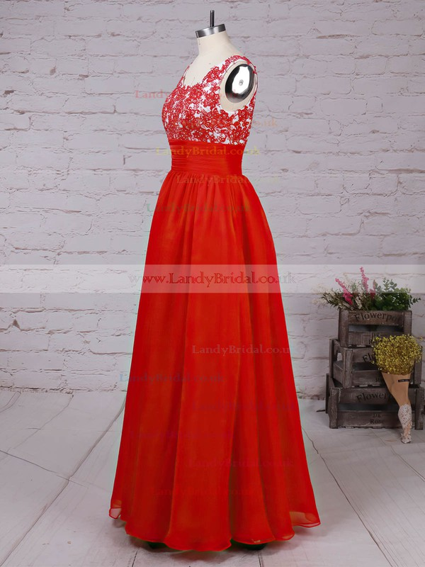 Chiffon Scoop Neck Floor-length A-line Beading Prom Dresses #LDB020105043