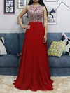 Chiffon Tulle Scoop Neck Floor-length A-line Beading Prom Dresses #LDB020105045