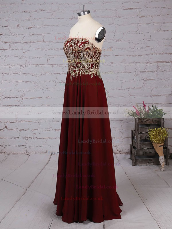 Chiffon Strapless Floor-length A-line Beading Prom Dresses #LDB020105046