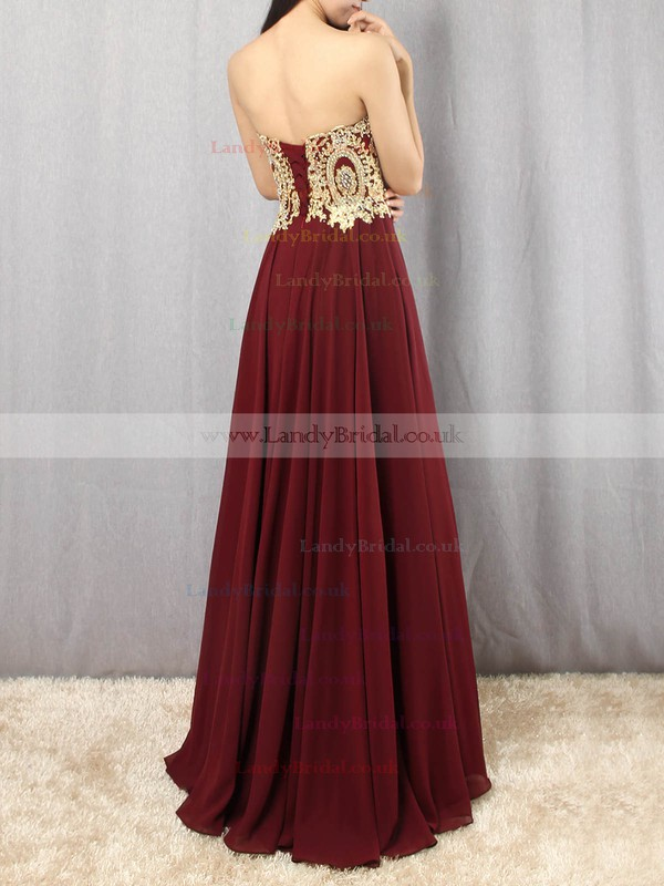 Chiffon Strapless Floor-length A-line Beading Prom Dresses #LDB020105046