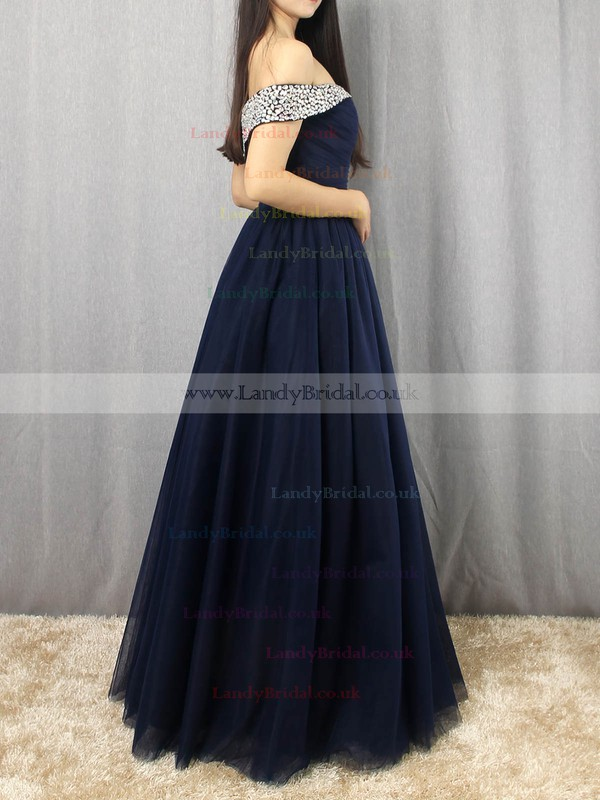 Tulle Off-the-shoulder Floor-length Princess Beading Prom Dresses #LDB020105051