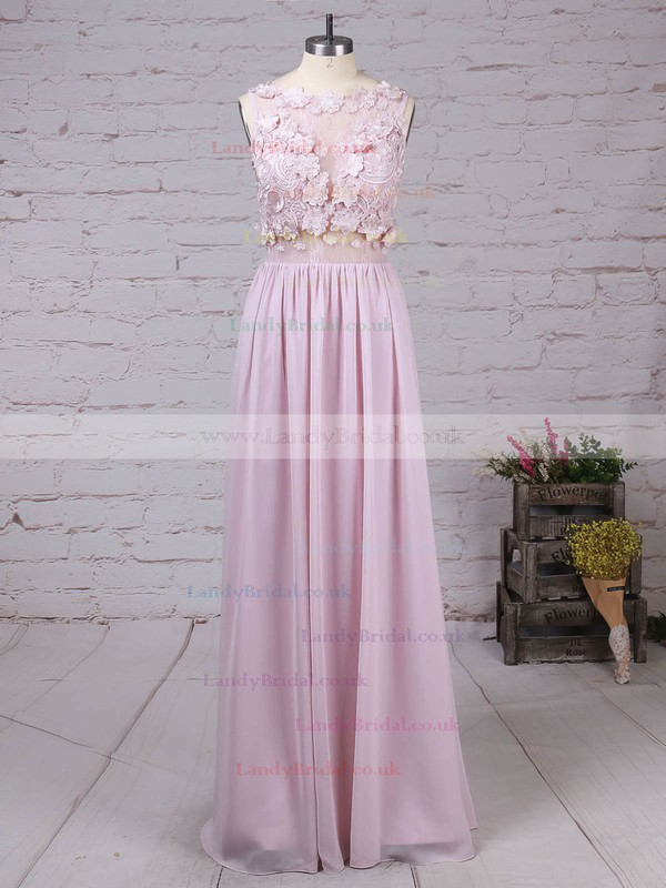 Lace Chiffon Scoop Neck Floor-length A-line Appliques Lace Prom Dresses #LDB020105054