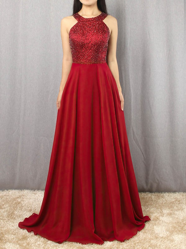 Chiffon Satin Scoop Neck Sweep Train A-line Beading Prom Dresses #LDB020105055