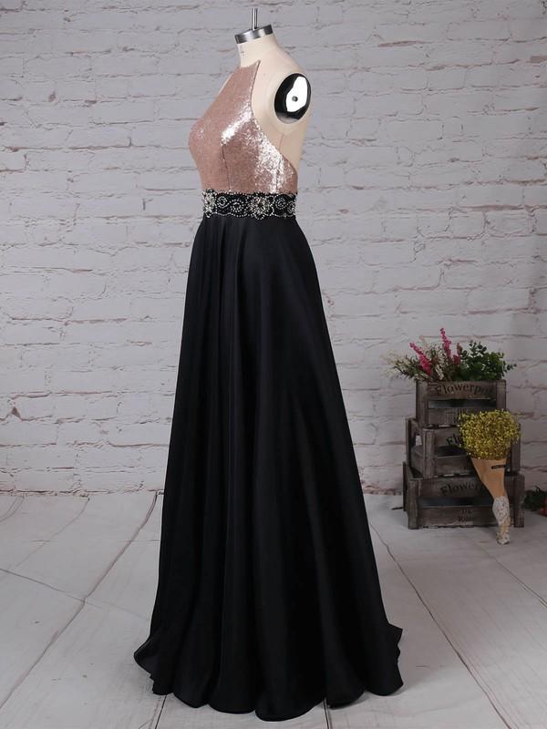 Satin Sequined Scoop Neck Floor-length A-line Beading Prom Dresses #LDB020105061