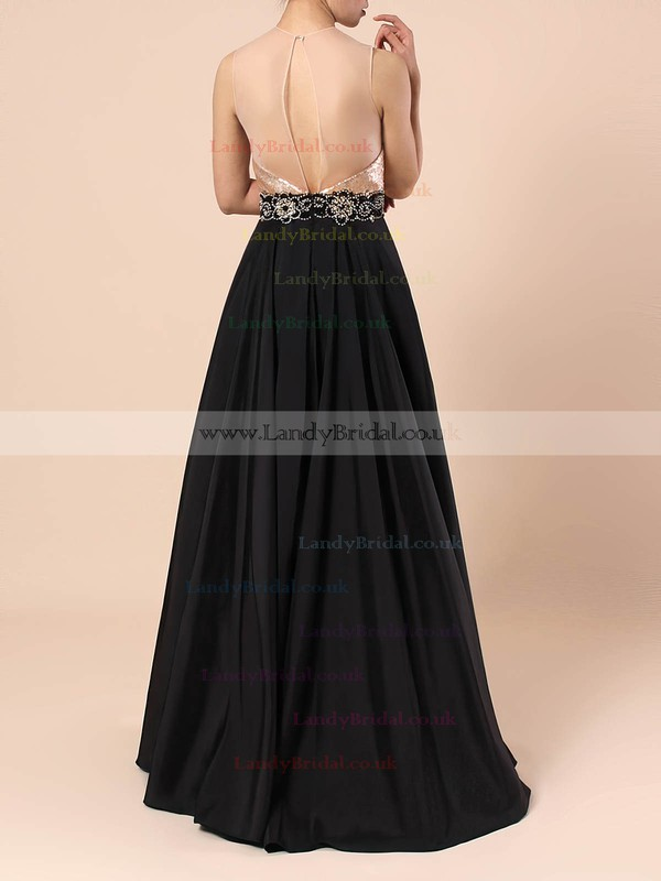 Satin Sequined Scoop Neck Floor-length A-line Beading Prom Dresses #LDB020105061