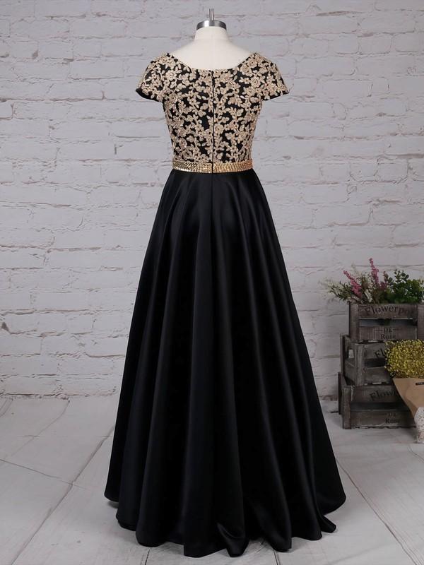 Satin V-neck Floor-length Princess Appliques Lace Prom Dresses #LDB020105063