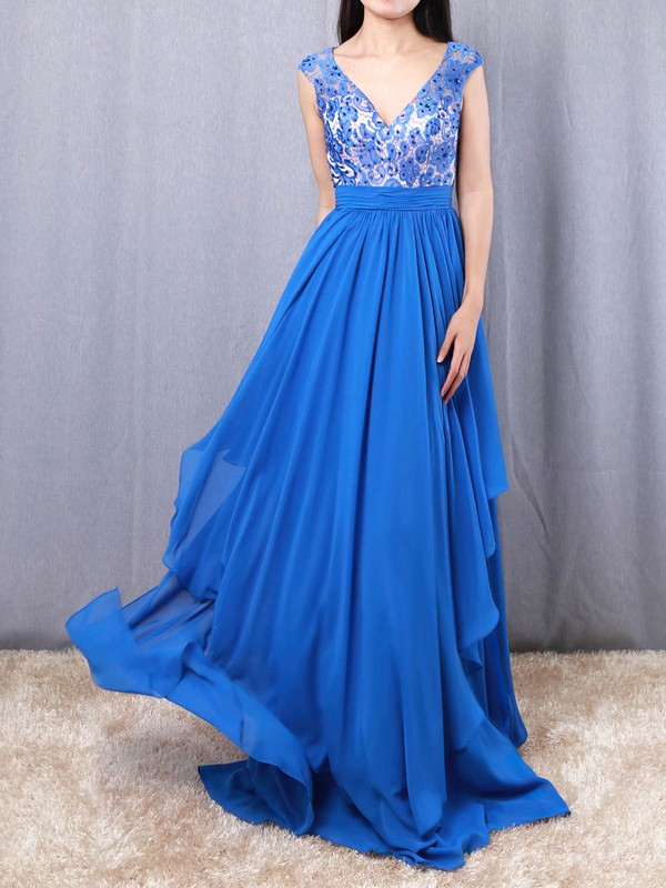 Lace Chiffon V-neck Floor-length A-line Beading Prom Dresses #LDB020105064