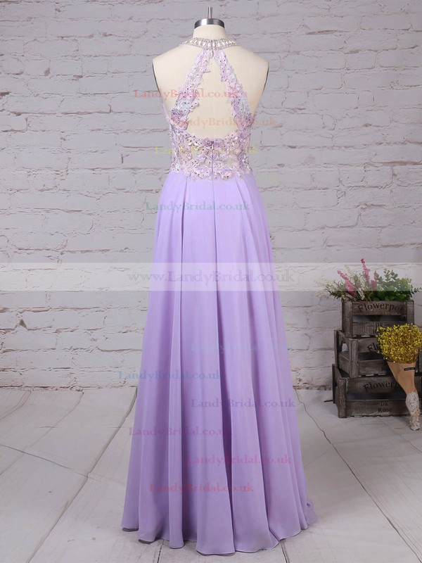 Chiffon Tulle Scoop Neck Sweep Train A-line Beading Prom Dresses #LDB020105074