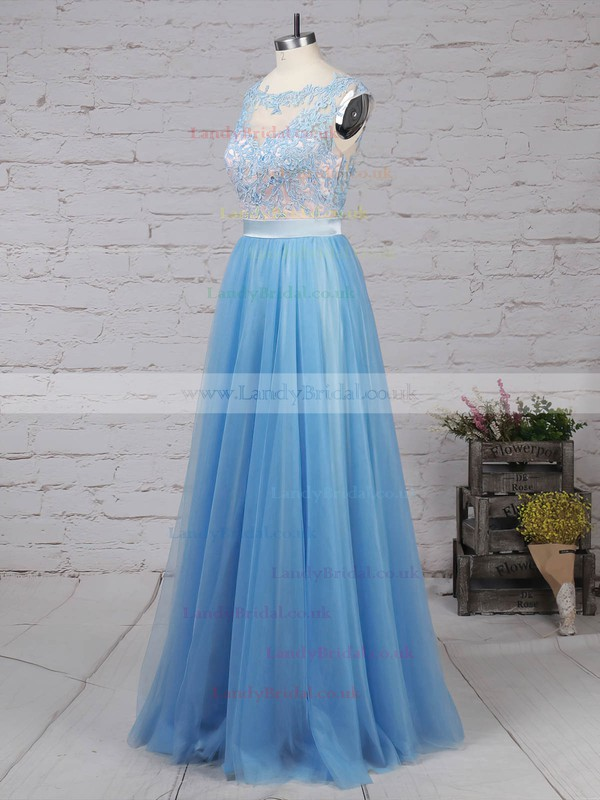 Tulle Scoop Neck Sweep Train A-line Appliques Lace Prom Dresses #LDB020105076