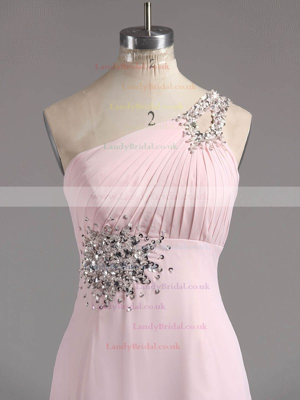 Fashion A-line Blue Chiffon with Beading One Shoulder Lace-up Prom Dresses #LDB02014927