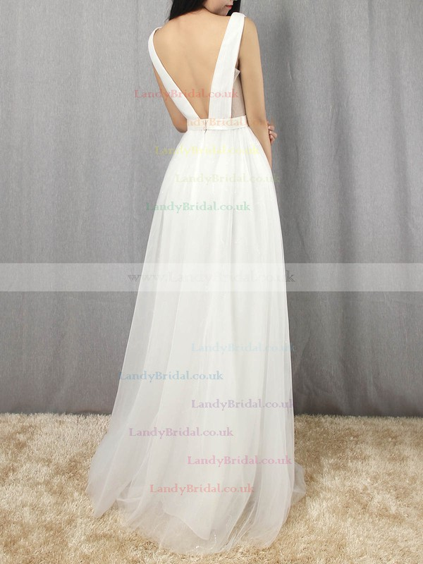 Tulle V-neck Floor-length A-line Sashes / Ribbons Prom Dresses #LDB020105079