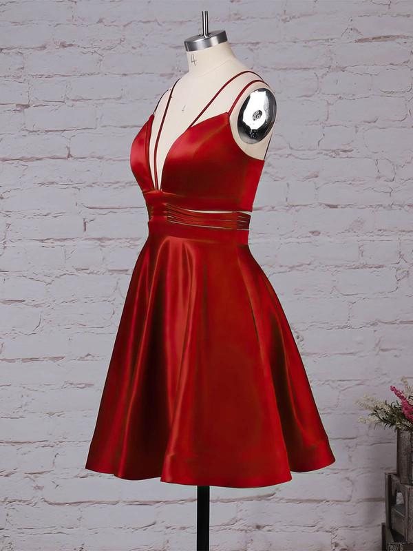 Satin V-neck Short/Mini A-line Pockets Prom Dresses #LDB020105080