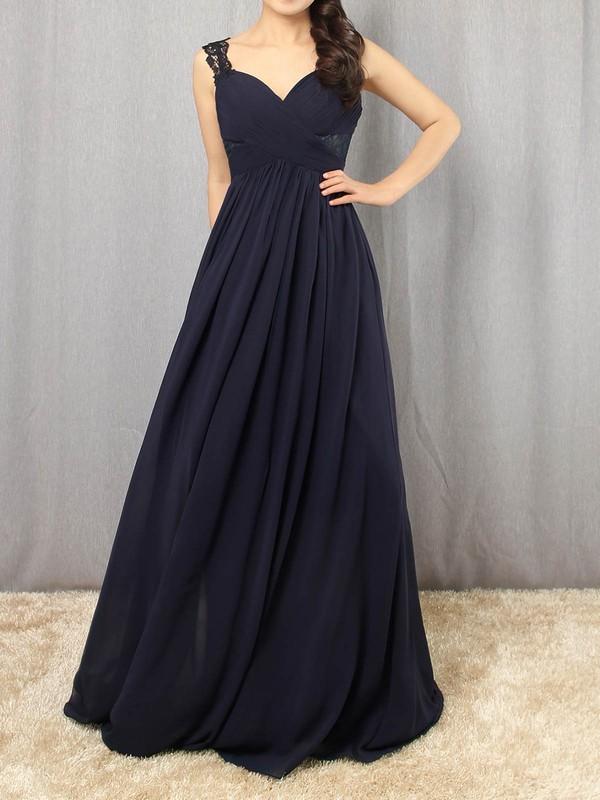 Chiffon V-neck Floor-length Empire Appliques Lace Prom Dresses #LDB020105081