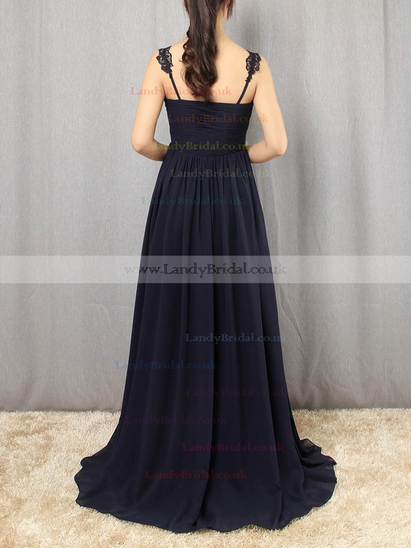 Chiffon V-neck Floor-length Empire Appliques Lace Prom Dresses #LDB020105081