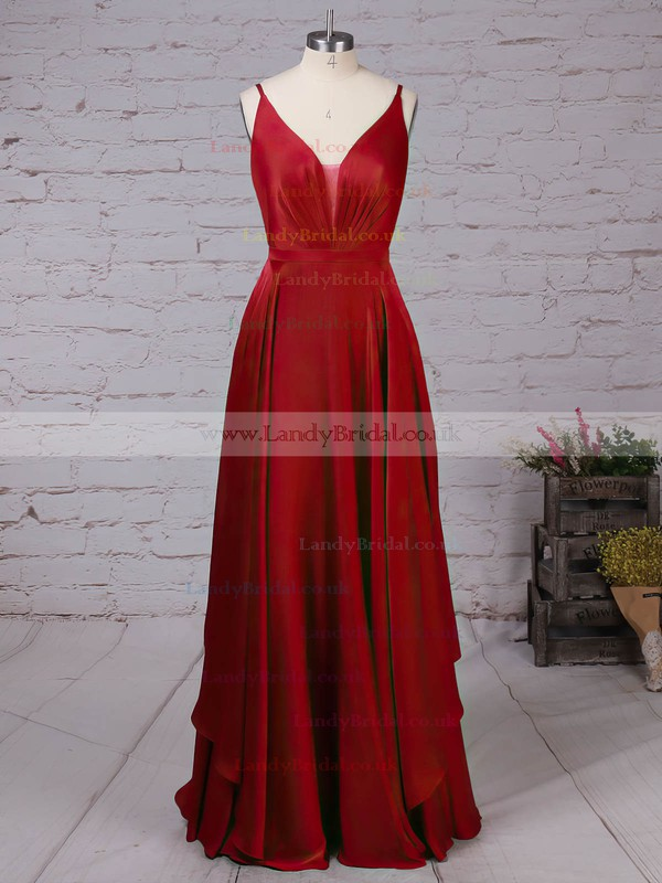 Satin Chiffon V-neck Floor-length A-line Sashes / Ribbons Prom Dresses #LDB020105086