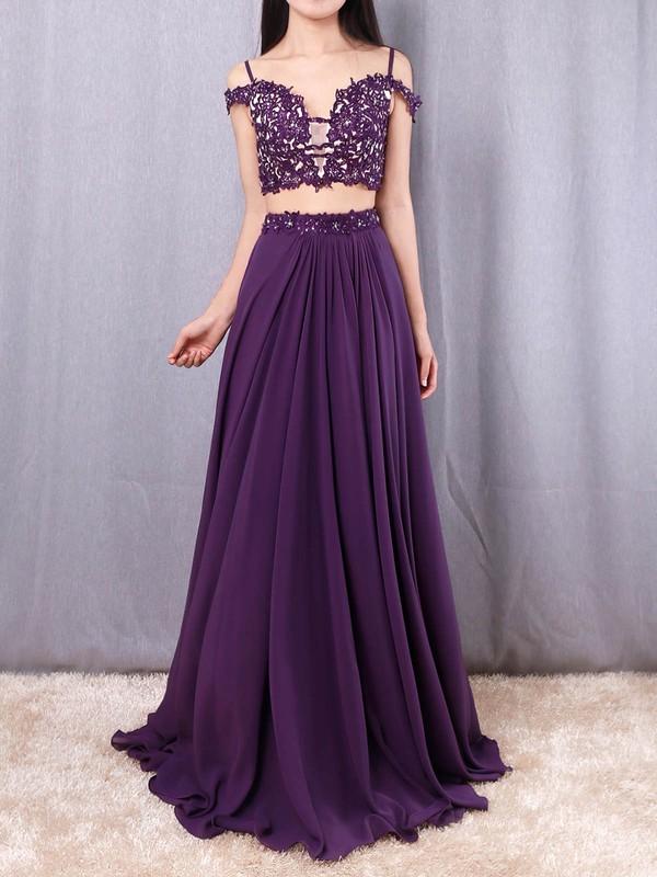 Chiffon V-neck Floor-length A-line Beading Prom Dresses #LDB020105087