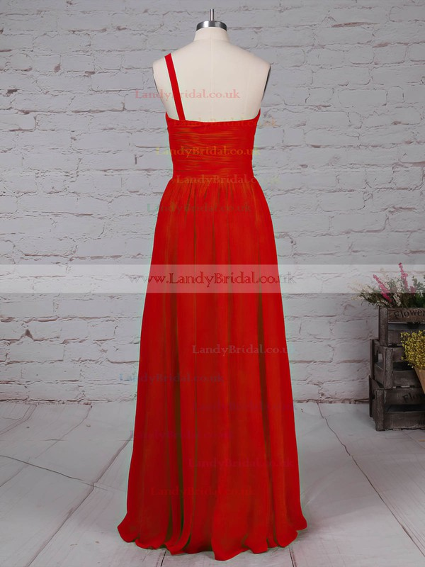 Chiffon One Shoulder Floor-length A-line Beading Prom Dresses #LDB020105090