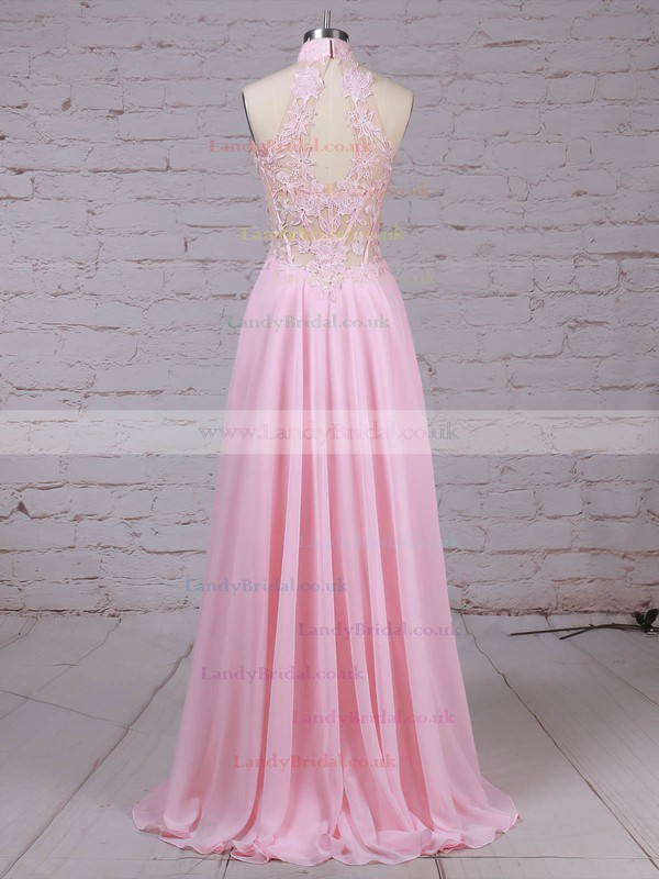 Chiffon Tulle High Neck Floor-length A-line Appliques Lace Prom Dresses #LDB020105092