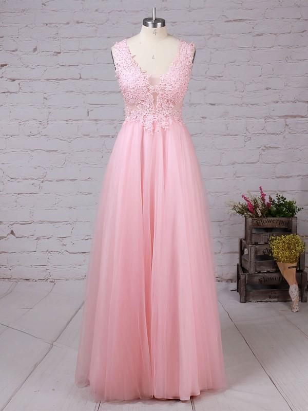 Tulle V-neck Floor-length A-line Beading Prom Dresses #LDB020105093