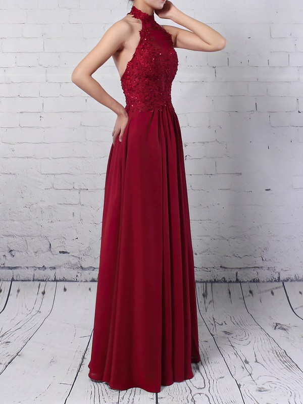 Chiffon Tulle Halter Floor-length A-line Appliques Lace Prom Dresses #LDB020105094