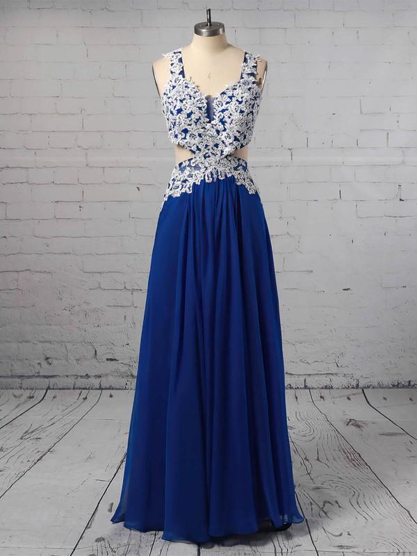 Chiffon V-neck Floor-length A-line Appliques Lace Prom Dresses #LDB020105095