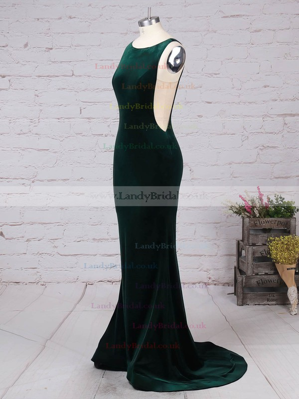 Tulle Velvet Scoop Neck Sweep Train Trumpet/Mermaid Prom Dresses #LDB020105097