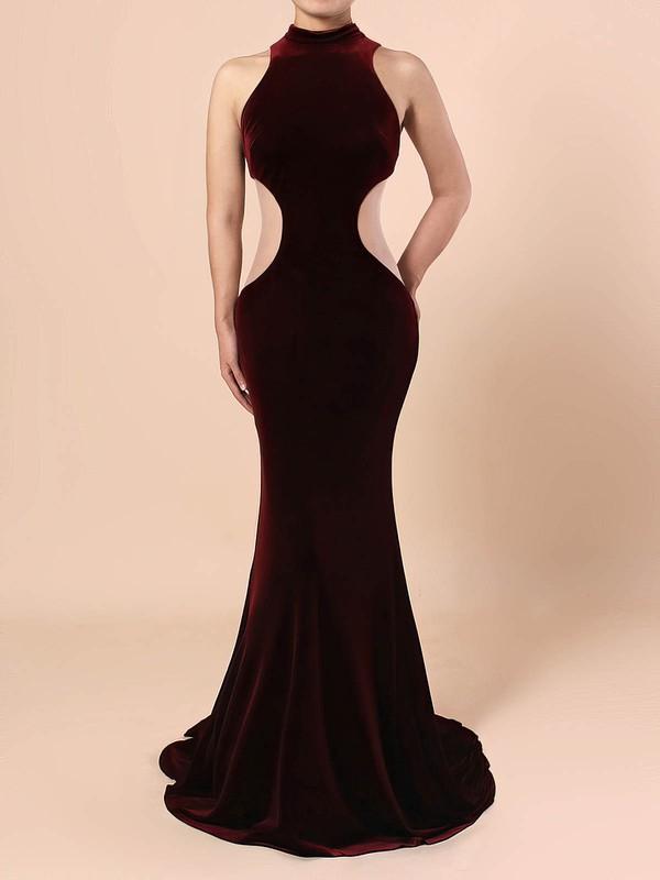 Velvet High Neck Sweep Train Trumpet/Mermaid Prom Dresses #LDB020105098