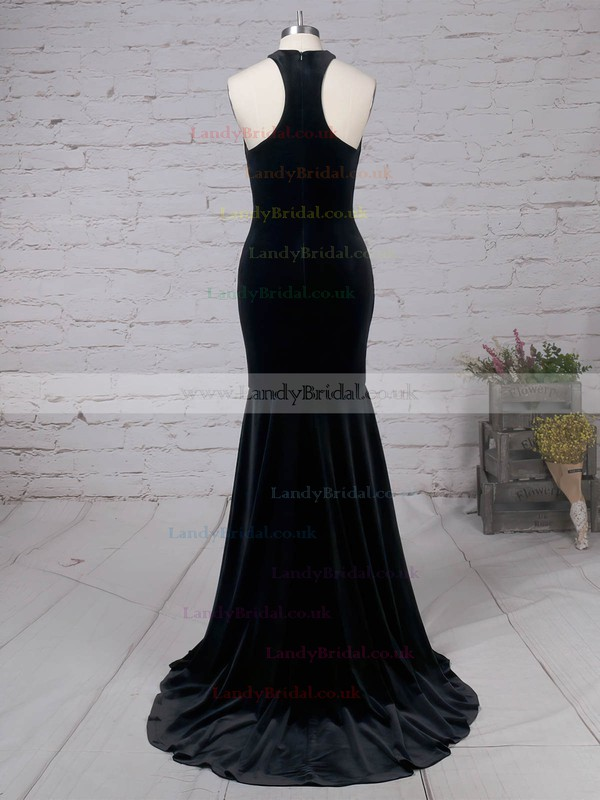 Velvet High Neck Sweep Train Trumpet/Mermaid Prom Dresses #LDB020105100