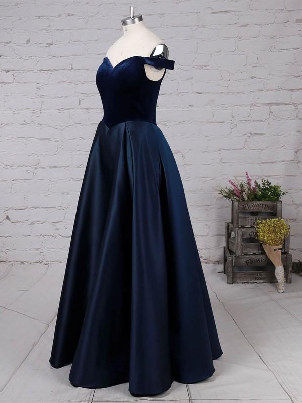 Satin Velvet Off-the-shoulder Floor-length Princess Draped Prom Dresses #LDB020105101