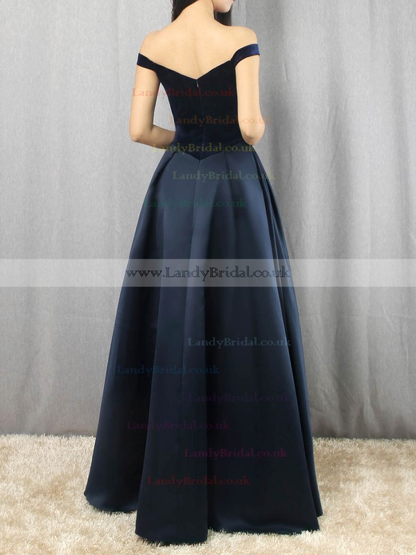 Satin Velvet Off-the-shoulder Floor-length Princess Draped Prom Dresses #LDB020105101