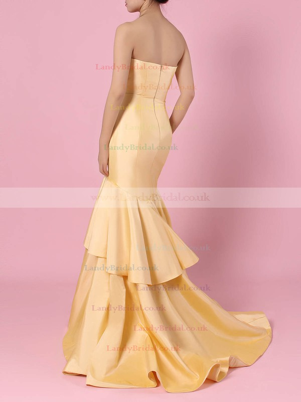 Taffeta V-neck Sweep Train Trumpet/Mermaid Tiered Prom Dresses #LDB020105103