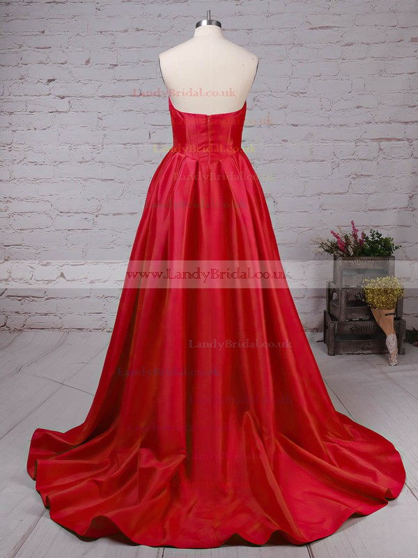 Satin Sweetheart Sweep Train Ball Gown Ruched Prom Dresses #LDB020105104