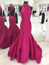 Taffeta High Neck Sweep Train Trumpet/Mermaid Beading Prom Dresses #LDB020105105