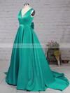 Satin V-neck Sweep Train Princess Bow Prom Dresses #LDB020105106