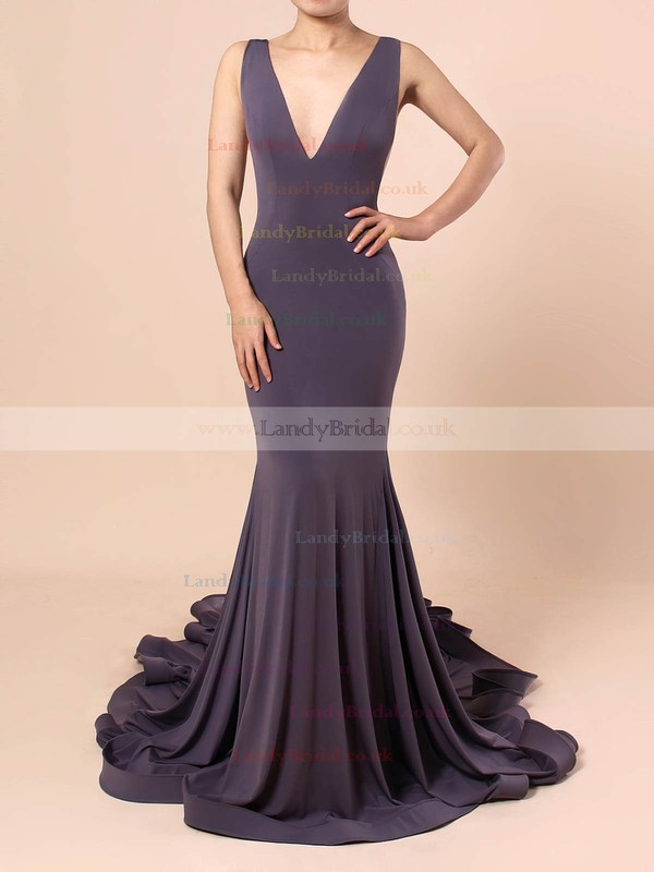 Jersey V-neck Sweep Train Trumpet/Mermaid Prom Dresses #LDB020105110