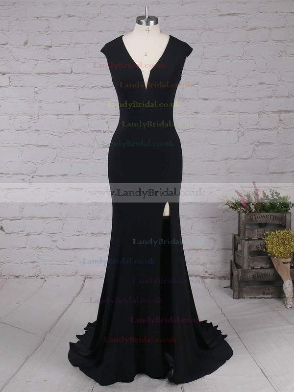 Jersey V-neck Sweep Train Trumpet/Mermaid Split Front Prom Dresses #LDB020105113