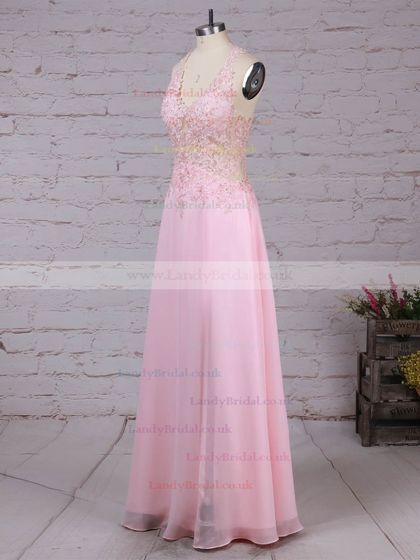 Tulle Chiffon V-neck Floor-length A-line Appliques Lace Prom Dresses #LDB020105116