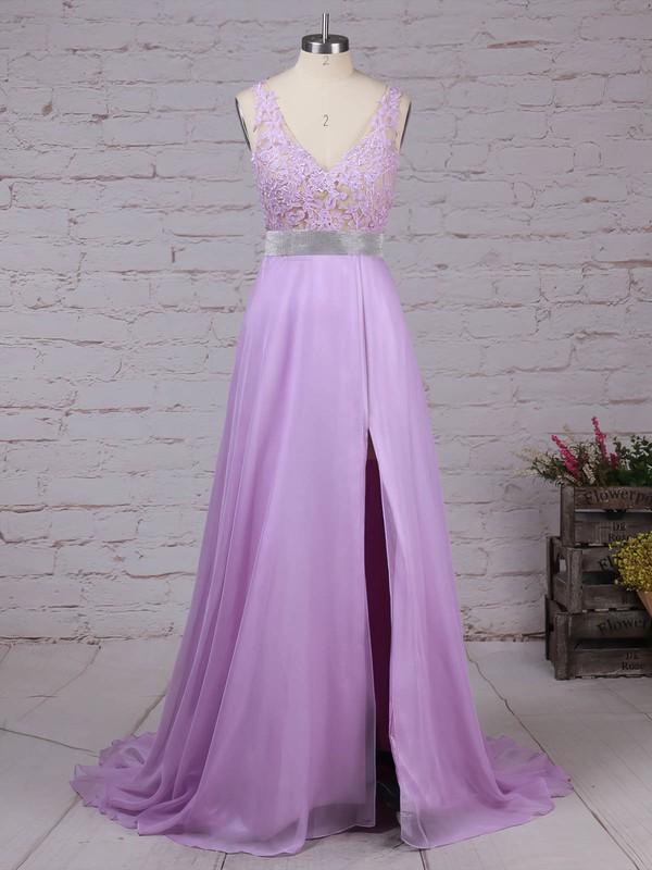 Chiffon V-neck Floor-length A-line Beading Prom Dresses #LDB020105118