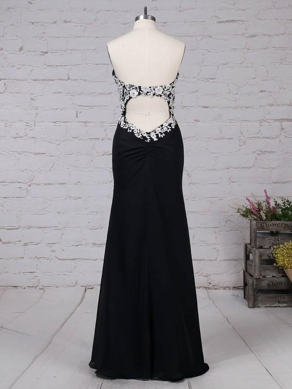 Chiffon Sweetheart Floor-length Sheath/Column Appliques Lace Prom Dresses #LDB020105120