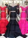 Satin Organza Off-the-shoulder Sweep Train Trumpet/Mermaid Tiered Prom Dresses #LDB020105124