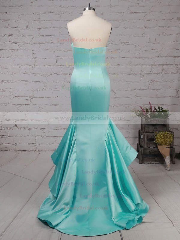 Satin Strapless Sweep Train Trumpet/Mermaid Draped Prom Dresses #LDB020105127