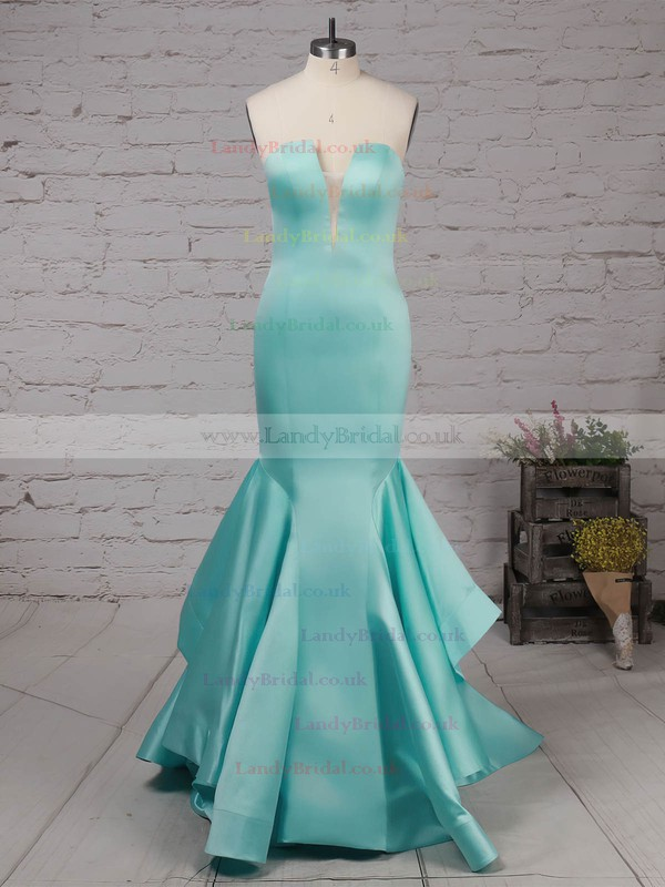 Satin Strapless Sweep Train Trumpet/Mermaid Draped Prom Dresses #LDB020105127