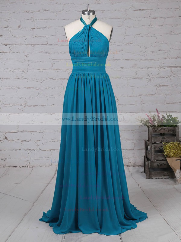 Chiffon Halter Sweep Train A-line Ruched Prom Dresses #LDB020105130