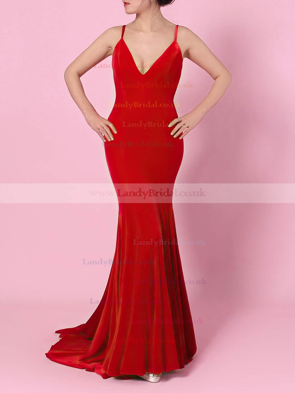 Jersey V-neck Sweep Train Trumpet/Mermaid Draped Prom Dresses #LDB020105134