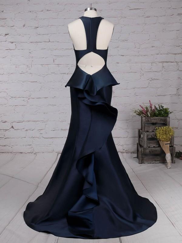 Satin V-neck Sweep Train Trumpet/Mermaid Ruffles Prom Dresses #LDB020105135