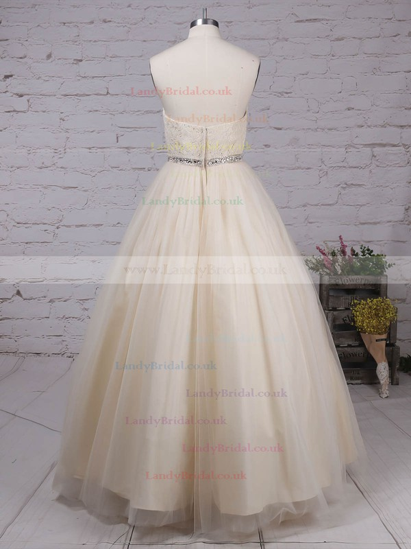 Lace Tulle V-neck Floor-length Ball Gown Beading Prom Dresses #LDB020105139