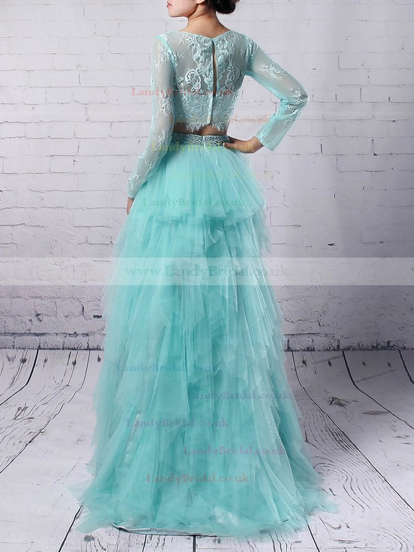 Tulle Scoop Neck Sweep Train Princess Beading Prom Dresses #LDB020105141