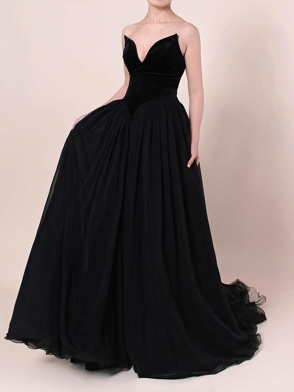 Organza Velvet V-neck Sweep Train Princess Prom Dresses #LDB020105825