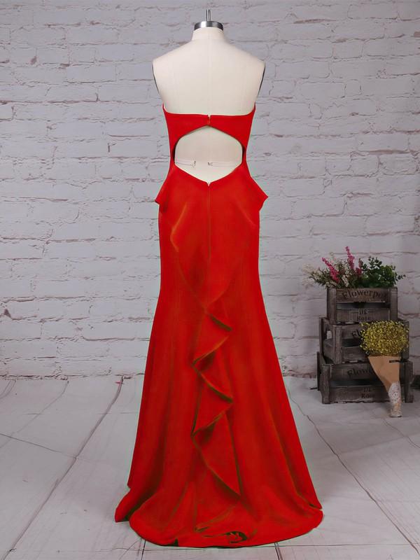 Silk-like Satin Sweetheart Sweep Train Trumpet/Mermaid Ruffles Prom Dresses #LDB020105826