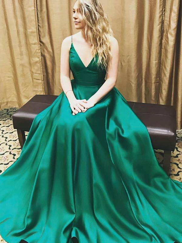Satin V-neck Sweep Train Princess Draped Prom Dresses #LDB020105830